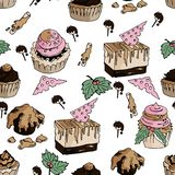 Seamless tasty pattern with yummy cakes in vector vector illustration