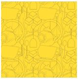 Seamless tea background. Black outline teapots, spoons, tea bags, tea leaves, sugar cubes on yellow Stock Photography