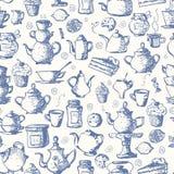 Seamless tea background stock illustration