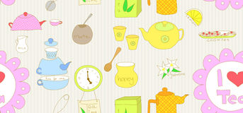 Seamless tea doodle Stock Photography