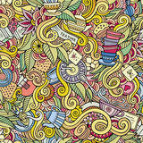 Seamless tea doodles abstract pattern Royalty Free Stock Photo