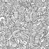 Seamless tea doodles abstract pattern Royalty Free Stock Image