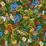 Seamless tea doodles abstract pattern Stock Image