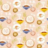 seamless tea för modell Stiliserade tekoppar, plattor med socker Arkivbilder