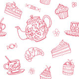 Seamless tea party vector pattern background. Hand drawn bakery, teapot and cups Royalty Free Stock Photo