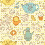 Seamless tea pattern. Vector illustration royalty free illustration