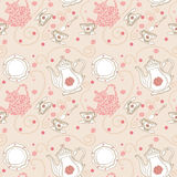 Seamless Tea pattern. With Pink background Stock Images