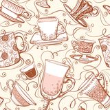 Seamless tea pattern. Royalty Free Stock Image