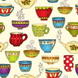 Seamless tea pattern with doodle teapots and cups. Royalty Free Stock Photography