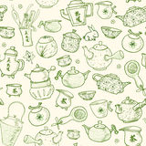 Seamless tea pattern with eastern teapots and cups Royalty Free Stock Image