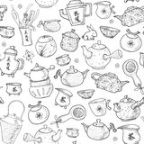 Seamless tea pattern with eastern teapots and cups Royalty Free Stock Photos