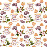 Seamless tea pattern - teacup, chocolate, cookies and flowers. Water color Royalty Free Stock Photography
