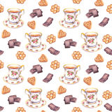 Seamless tea pattern with teacup, chocolate and cookies. Water colour Royalty Free Stock Photo