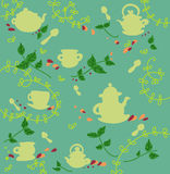 Seamless tea and teapots pattern stock photography