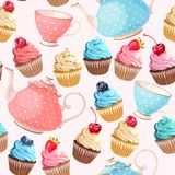 Seamless teacups and cupcakes. Teacups, teapots and cupcakes vector seamless background Stock Image