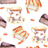 Seamless teatime pattern - tea cup, cakes, chocolate cheese cake. Watercolor. Seamless tea time pattern - tea cup, cakes, chocolate cheese cake. Watercolor Royalty Free Stock Image