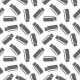 Seamless technology black and white vector pattern, chaotic background with icons of flash drive, over light backdrop Stock Images
