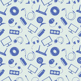 Seamless technology vector pattern, chaotic background with blue icons Royalty Free Stock Photos