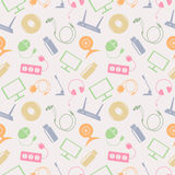 Seamless technology vector pattern, chaotic background with colorful icons of PC, monitor, headphones, disc, router, socket, batte. Ry, USB flash drive, web Vector Illustration