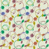 Seamless technology vector pattern, chaotic background with colorful icons of usb cables and batteries, over light backdrop Stock Photo