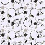 Seamless technology vector pattern, chaotic background with icons of usb cables and batteries, over light backdrop Royalty Free Stock Photography