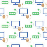 Seamless technology vector pattern, symmetrical background with colorful icons of monitor, PC mouse and fuse, over light backdrop Stock Images