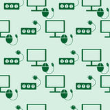 Seamless technology vector pattern, symmetrical background with icons of monitor, PC mouse and fuse, over green backdrop Stock Image