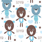 Seamless teddy bear pattern vector illustration Royalty Free Stock Photo