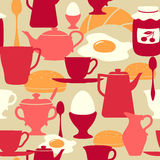 seamless tema för frukostmodell Royaltyfria Bilder