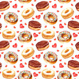 Seamless template with cookies donuts and love hearts Royalty Free Stock Photos