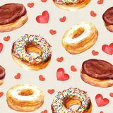 Seamless template with cookies donuts and love hearts Royalty Free Stock Photo