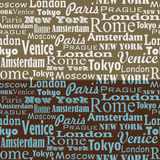 Seamless text pattern. With name of city and capitals Stock Photography