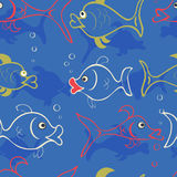 Seamless textil fish Royalty Free Stock Image
