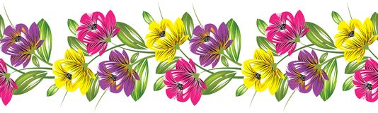 Seamless textile flower border. For textile fabrics and cloths Royalty Free Illustration