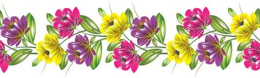 Seamless textile flower border Stock Photos