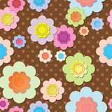 Seamless textile flowers on brown polka dot fabric stock images