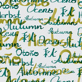 Seamless textile pattern of autumn inscriptions in different. Languages Royalty Free Stock Photos