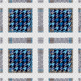 Seamless textile pattern. Checkered print with and hounds tooth elements. Royalty Free Stock Photo