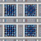 Seamless textile pattern. Checkered print with and hounds tooth elements. Design for coats, jackets, suits. Classical retro collection stock illustration