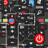 Seamless textile pattern of controls TV remote Stock Images