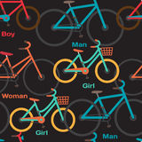 Seamless textile pattern with family to ride a bike Royalty Free Stock Photos