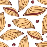 Seamless textile pattern with leaves and berries Royalty Free Stock Image