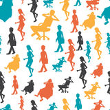Seamless textile pattern with  modern flat design people w Stock Photos