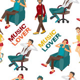 Seamless textile pattern with  modern flat design people Stock Photo