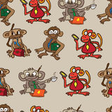 Seamless textile pattern of monkey business Stock Photo