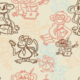 Seamless textile pattern of monkey business Royalty Free Stock Image