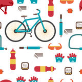 Seamless textile pattern with Mountain bike kit. Set riding bike. S isolated on white background. Vector color seamless flat pattern Royalty Free Stock Photos