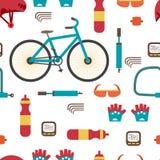 Seamless textile pattern with Mountain bike kit. Set riding bike Royalty Free Stock Photos