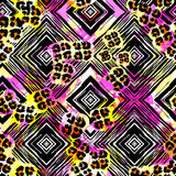 Seamless textile  pattern print .Fashion trendy expressive hand Stock Photography