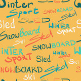 Seamless textile pattern winter sport lettering style Royalty Free Stock Photo